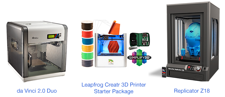 da Vinci 2.0 Duo Leapfrog Creatr 3D printer starter package and Replicator Z18