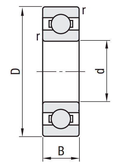 6822 Ball Bearings Dimensions