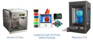 da Vinci 2.0 Duo Leapfrog Creatr 3D printer starter package and Replicator Z18